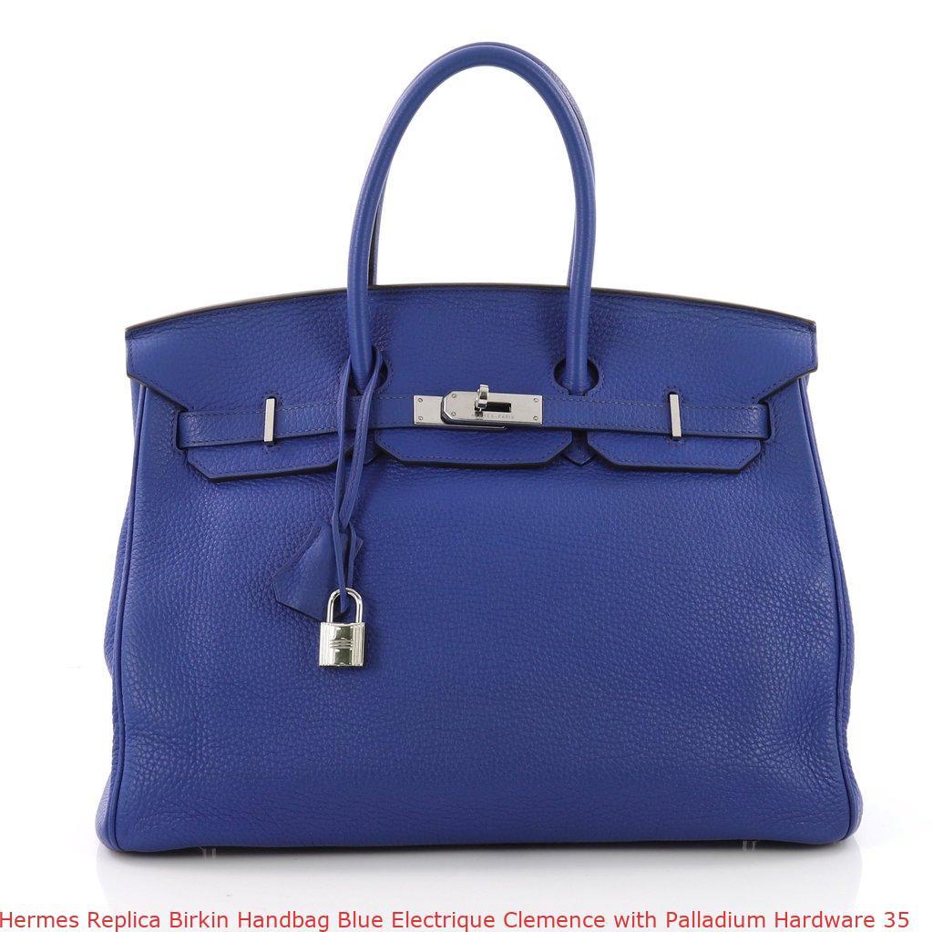 3dfb2c6da17 Hermes Replica Birkin Handbag Blue Electrique Clemence with Palladium  Hardware 35