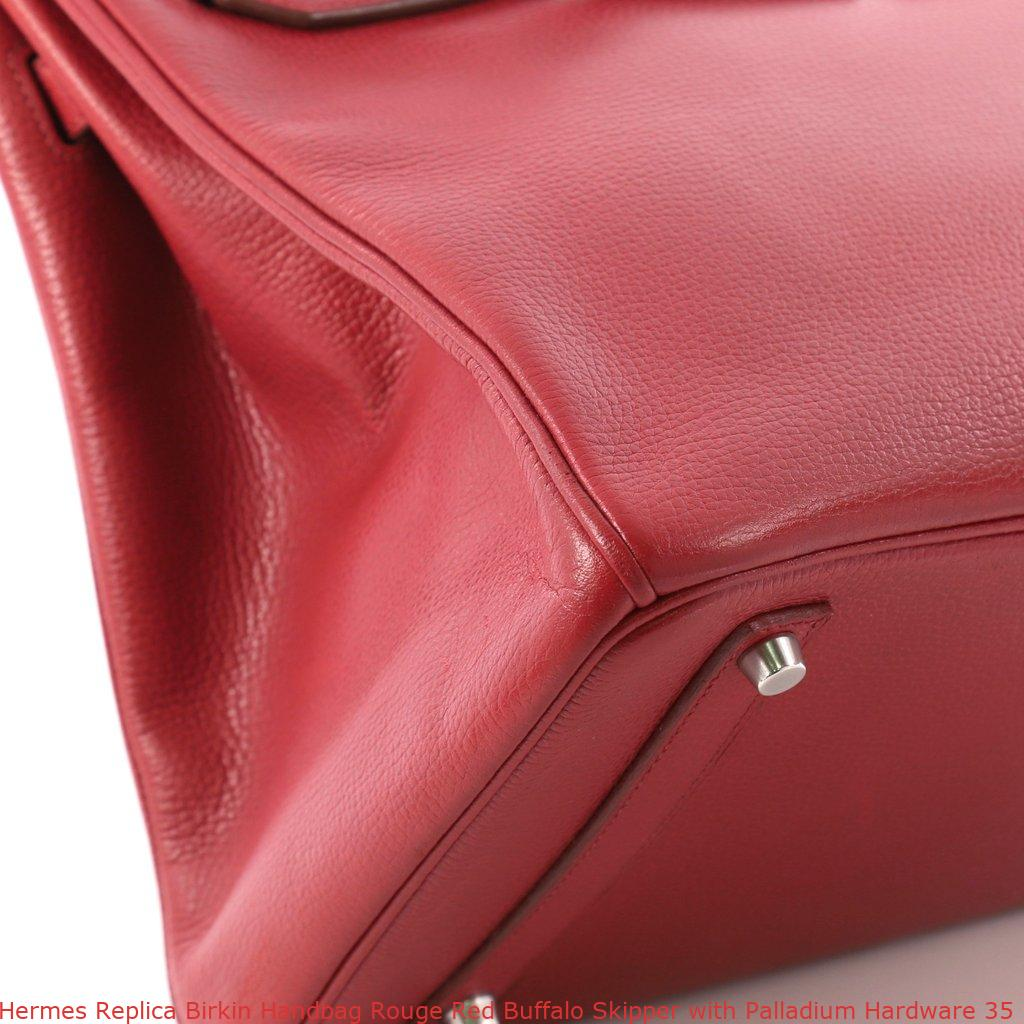 41f27e9c0b51 Hermes Replica Birkin Handbag Rouge Red Buffalo Skipper with Palladium  Hardware 35