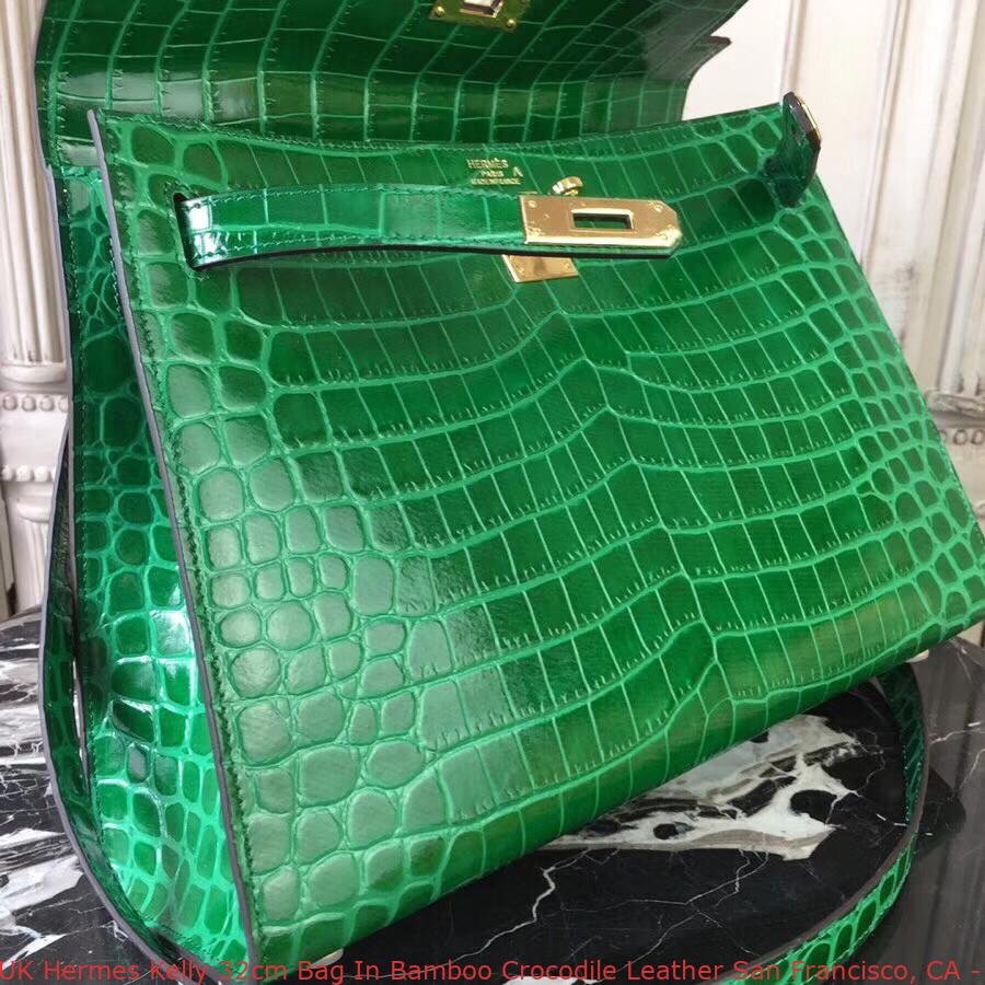 dbaeac4370c5 UK Hermes Kelly 32cm Bag In Bamboo Crocodile Leather San Francisco ...